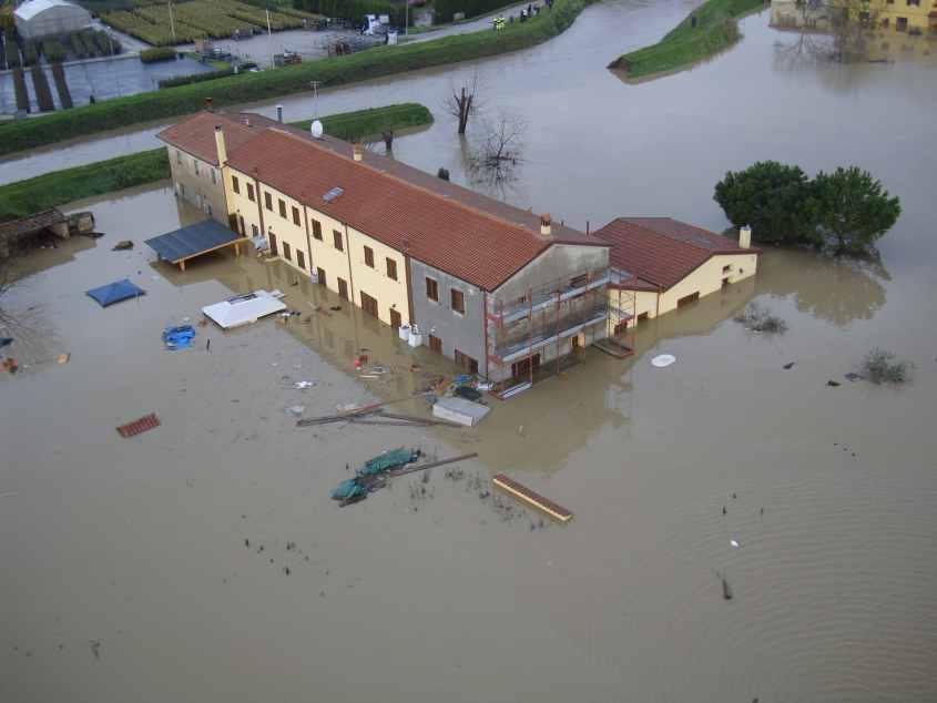 Una parte dell'area alluvionata da un rilievo aereo - 25/12/2009