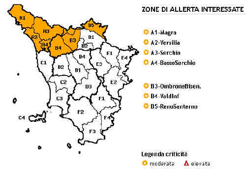 Planimetria delle Toscana allegata all'Avviso meteo di criticità del 3 gennaio 2014