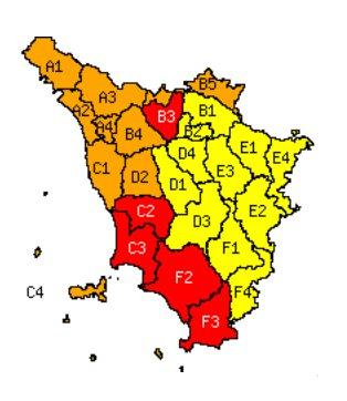 Mappa della Toscana con sintesi delle criticità del 30/1/2014