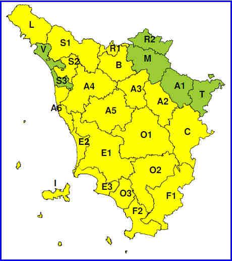 """Planimetria della Toscana allegata all'Avviso di criticità """"gialla"""" per  """"forti temporali"""" valido dalle ore 14 alle ore 21 del 30/8/2016"""