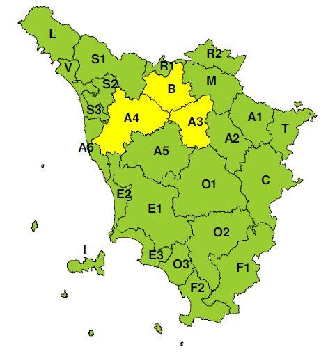 """Planimetria della Toscana allegata all'Avviso di criticità """"Gialla"""" valido per il 16/11/2018"""