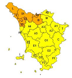 Mappa della Toscana con le aree nord ovest segnalate in arancione e il resto della Toscana in giallo per avviso meteo rischio idrogeologico e idraulic