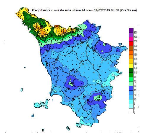 Immagine cumulato precipitazioni 24 ore - 2 febbraio 2019