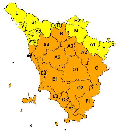 """Planimetria della Toscana allegata all'Avviso di criticità """"Arancione"""" previsto per lunedì 25 e martedì 26 marzo 2019"""
