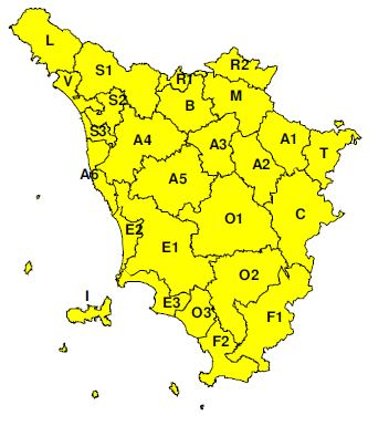 """Planimetria della Toscana allegata all'Avviso di criticità """"Giallo""""  valido intera giornata di  domenica 5 maggio 2019"""