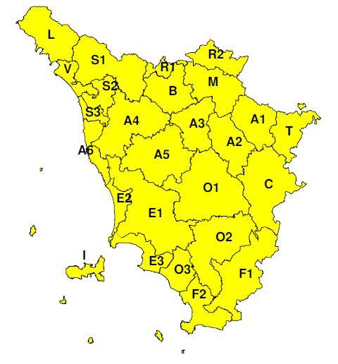 """Planimetria della Toscana allegata all'Avviso di criticità """"Giallo""""  valido intera giornata di lunedì 13 maggio 2019"""