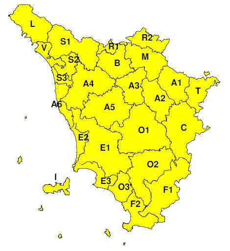 """Planimetria della Toscana allegata all'Avviso di criticità """"Giallo""""  valido dalle ore 13 di domenica 26 fino alla mezzanotte di lunedì 27 maggio"""