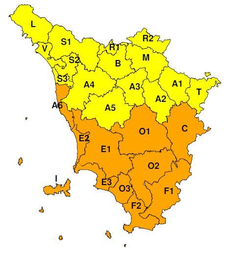 """Planimetria della Toscana allegata all'Avviso di criticità """"Giallo""""  valido dalle ore 00.00 alle ore 13.00 di mercoledì 10 luglio 2019"""