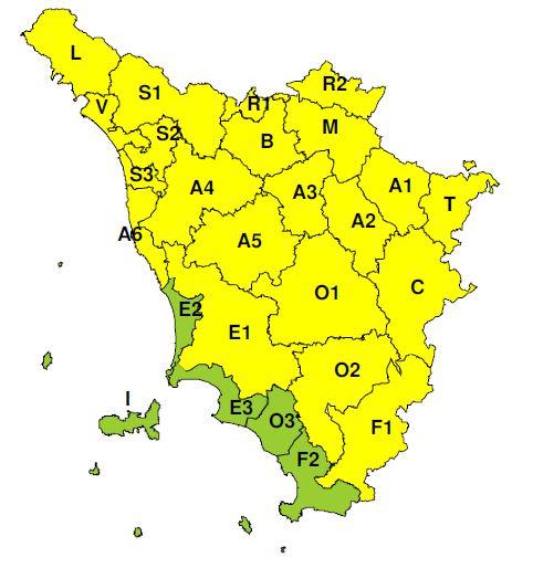 """La zona di allerta """"B"""" (Comune di Prato) indicata a criticità """"gialla"""" dalle 09 alle 21 di venerdì 23 agosto 2019"""