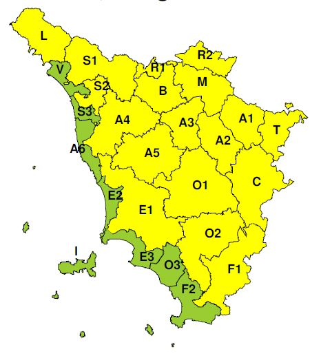 """La zona di allerta """"B"""" (Comune di Prato) indicata a criticità """"gialla"""" dalle 13 alle 21 di sabato 24 agosto 2019"""
