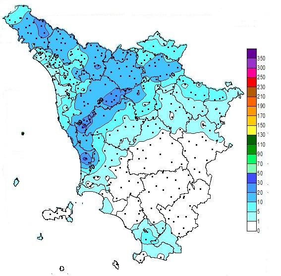 Pluviometria in Toscana dalle 00.00 alle 12.00 del 23/09/2019