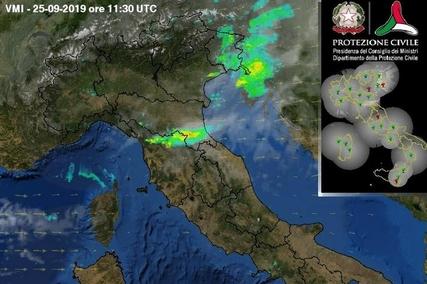 Immagine del radar meteo su Prato - 25/09/2019 ora (locale) 13.30