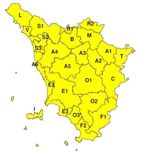 Planimetria della Toscana allegata al bollettino codice Giallo per oggi 4 e domani 5 novembre 2019