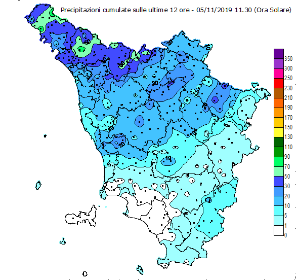 Pluviometria 12 ore del 5.11.2019