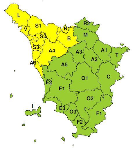 Planimetria della Toscana allegata al bollettino codice Giallo per oggi 5 e per domani 6 novembre 2019