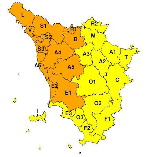 """Planimetria della Toscana allegata all'Allerta meteo a codice """"Arancione"""" valido per venerdì 8 novembre 2019"""