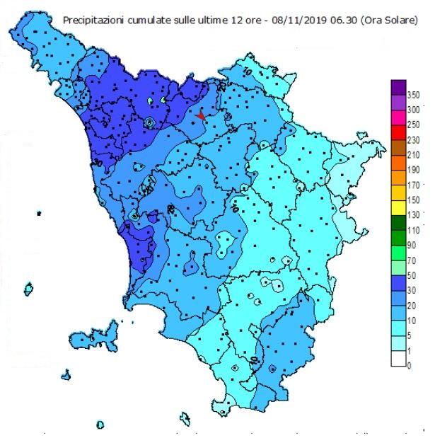 Mappa della pluviometria in Toscana nelle ultime 12 ore - dalle 18.30 del 7 alle 06.30 dell'8/11/2019