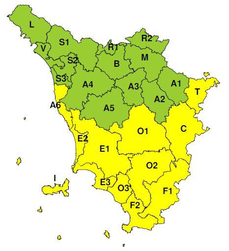 Planimetria della Toscana allegata al bollettino del CFR emesso l'8/11/2019