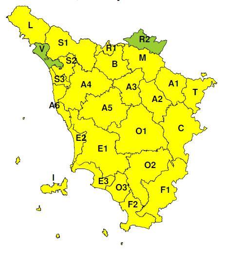 """Dichiarato dal CFR codice """"Giallo"""" per possibile """"forte vento"""" anche a Prato, martedì 21 aprile 2020"""
